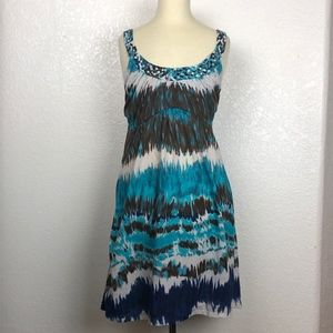 Fleurish Blue White & Brown Tie-Dye Dress (Small)